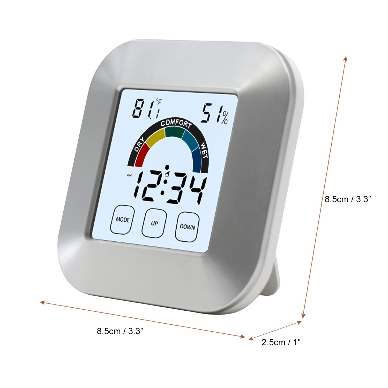 OurLeeme portatile 6, 9cm LCD digitale temperatura umidità orologio sveglia touch control per cucina bagno