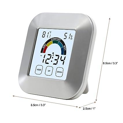 OurLeeme - Reloj Digital Portátil LCD DE 2,7 Pulgadas con Control Táctil de Temperatura y Humedad para Cocina o Baño
