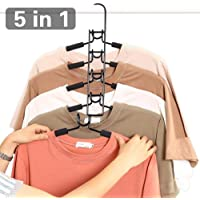 Multi Layers Clothes Hangers - 5 in 1 Anti-slip Sponge Metal Clothes Rack Wardrobe Storage Rack Multifunctional Closet Hanger Space Saving Organizer for Jacket Coat Sweater Trousers Shirt T-Shirt