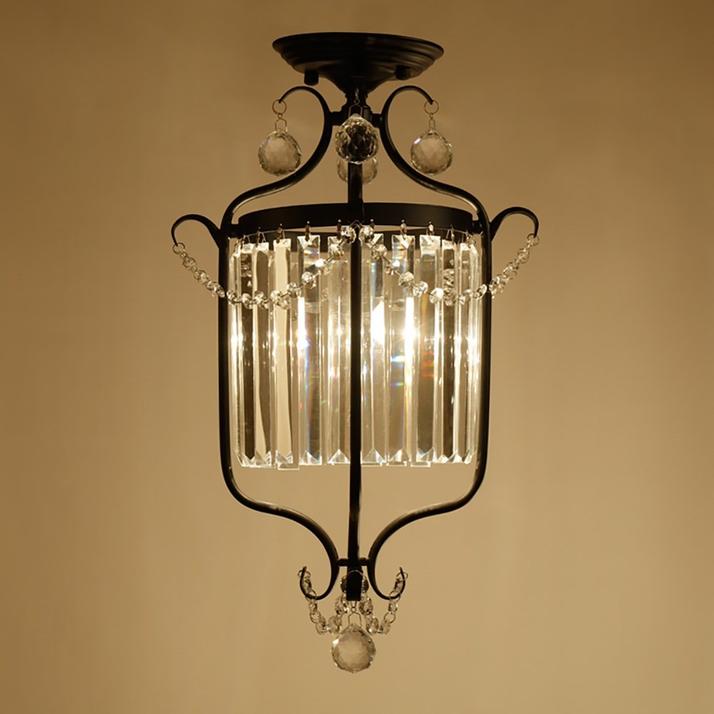 TOYM US Aisle hall entrance door light American corridor balcony staircase iron crystal ceiling lamp