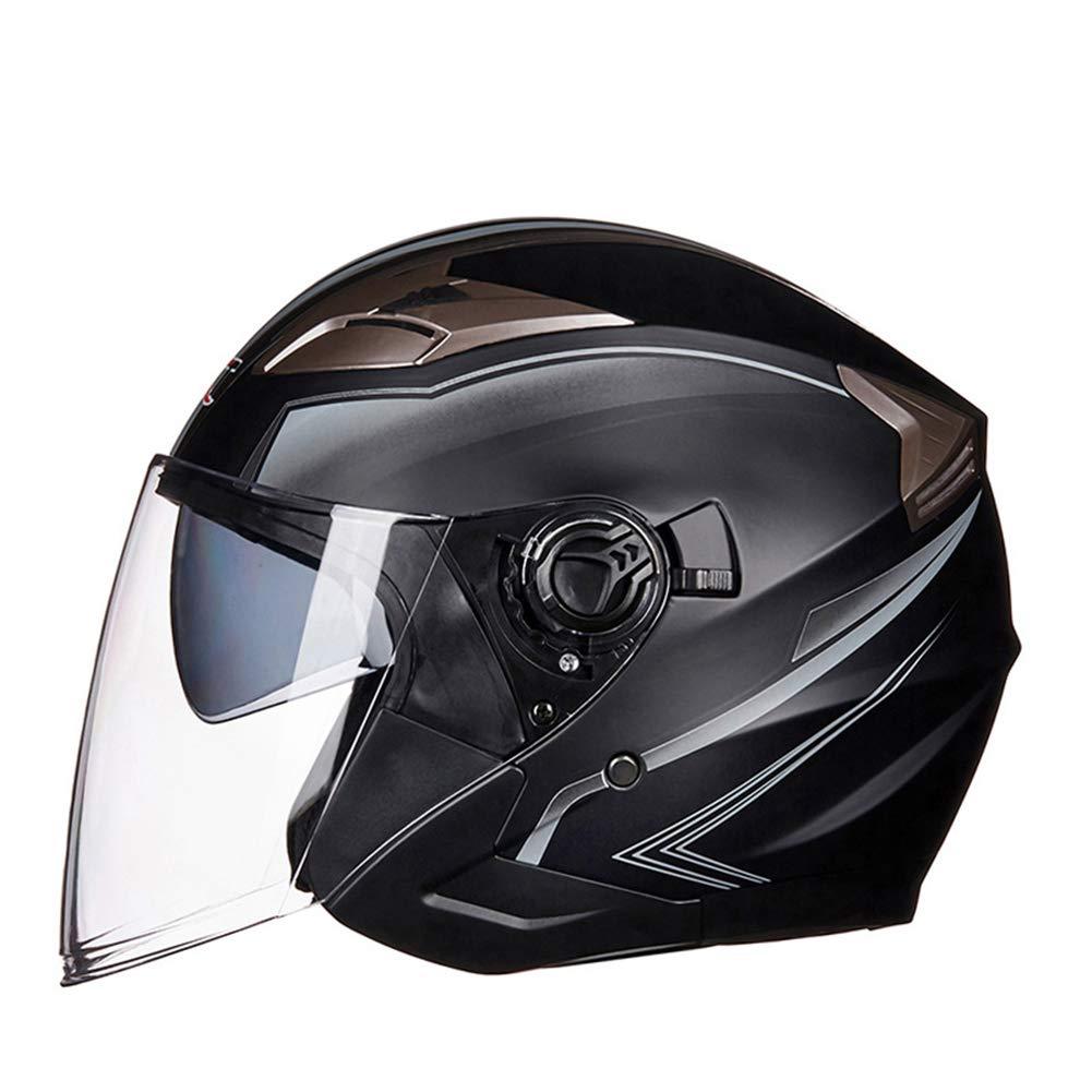 Baoblaze Dual Visors Motorcycle 3//4 Open Face Half Helmet Full Shield Visor Helmets White XXL