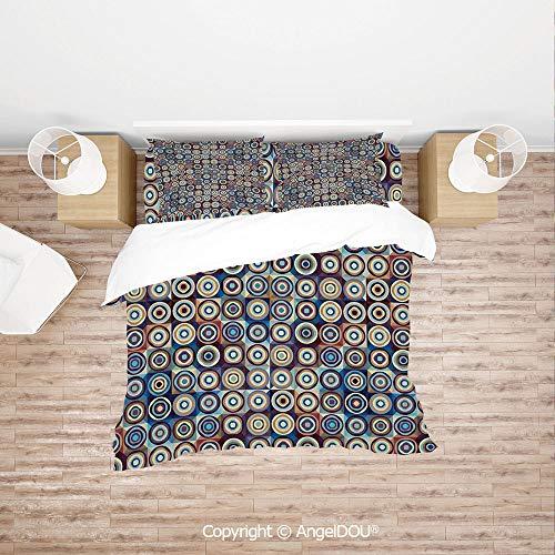 (PUTIEN Soft Microfiber Duvet Cover Set (1 Duvet Cover+ 1 Sheet +2 Pillow Cases) Bedding Set,Modern Ring Formed Round Spiral Vortex Circles in Many Tones Artwork,for Colorful Home Decor. )