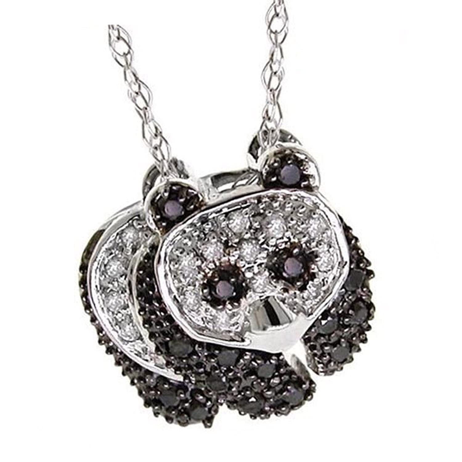 0.25 Carat (ctw) 18k Gold Round Black and White Diamond Ladies Panda Pendant 1/4 CT