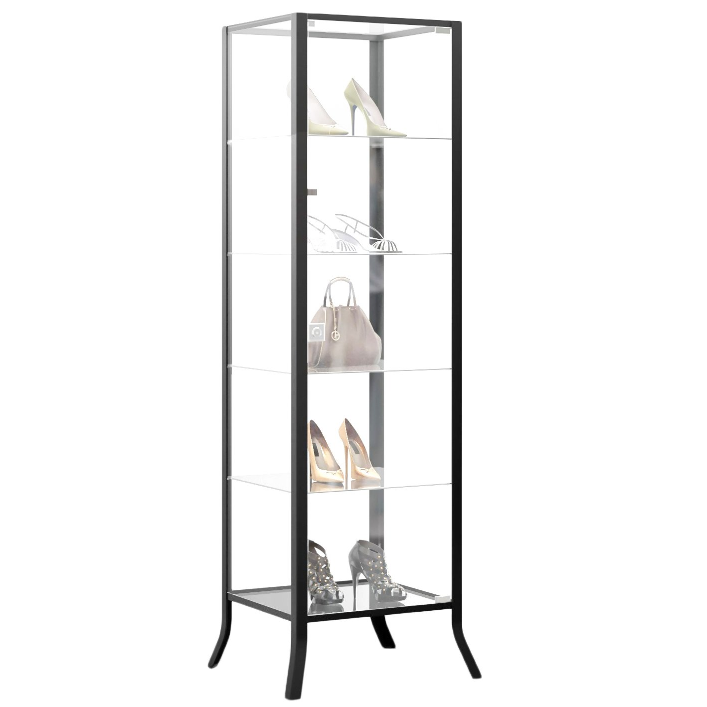 Amazon.com: Curio Cabinet Display With Glass Door And Lock For Collectibles  And Other Items To Showcase , Durable Black Steel Frame With Industrial To  ...