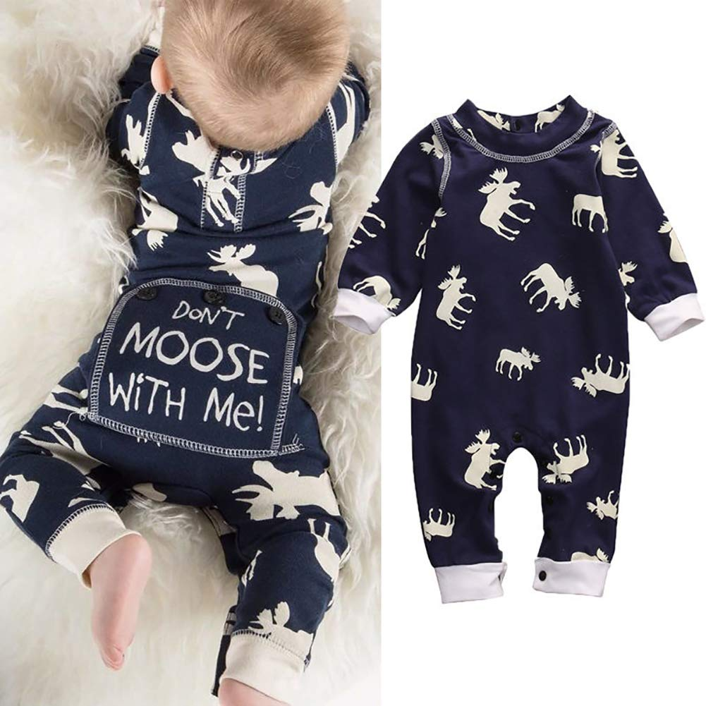 Cute Infant Newborn Baby Boy Clothes Don't Moose with Me Cotton Romper Jumpsuit Bodysuit for Vacations