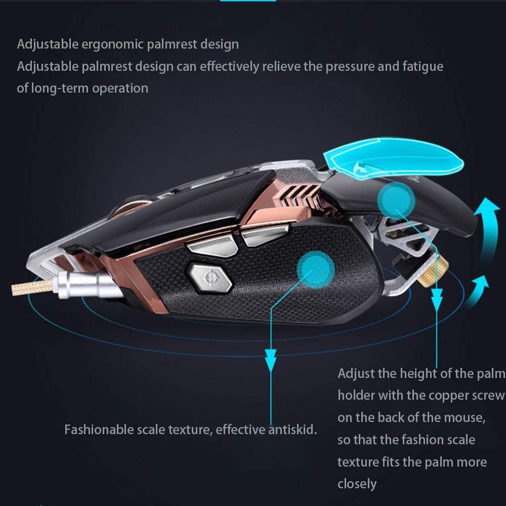 Mengen88 4000Dpi Adjust Optical Wired Gaming Mouse Ergonomic Body with 7 Key Programmable USB Interface Support Independent Counterweight Design,for Gamer
