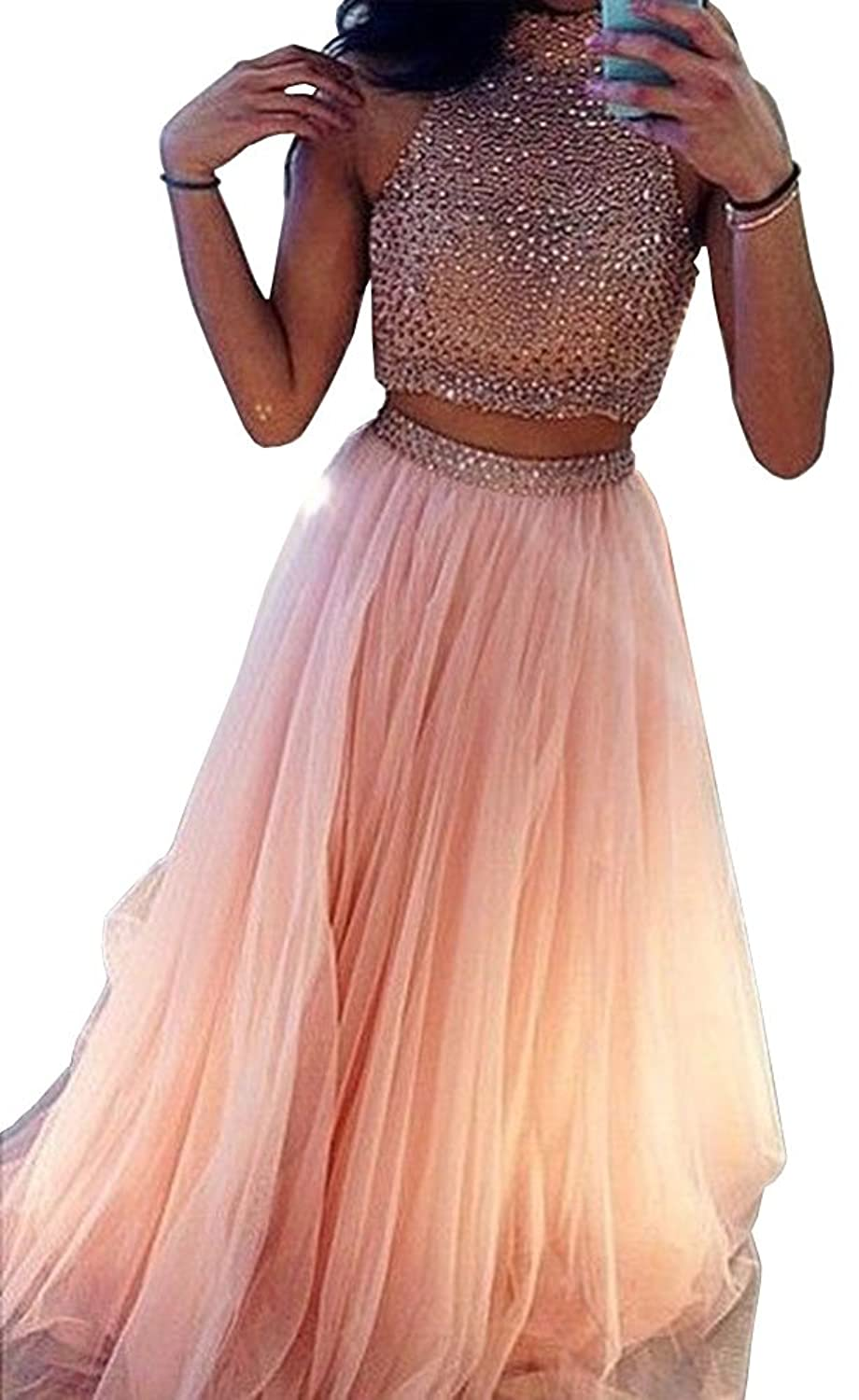 Amazon.com: Lovelybride Charming Halter 2 Piece Beaded Tulle Prom Dress Long Evening Party Gown: Clothing