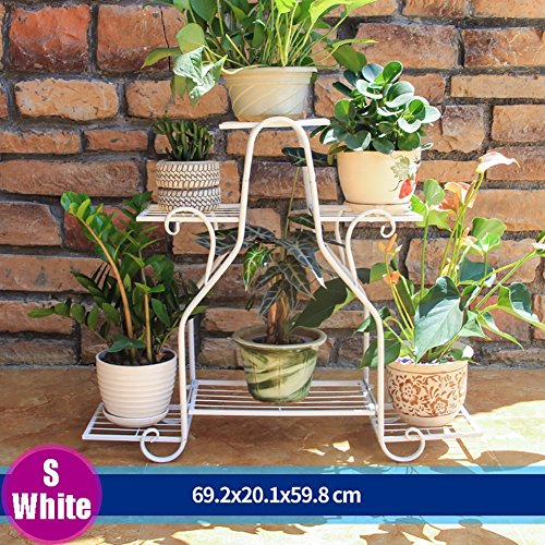 LXLA- Iron Flower Pot Stand Multilayer Floor-standing Diaplay Shelf Indoor Outdoor Potted Potted Plant Rack Parlor Balconies Multifunction (Color : White, Size : (White Wrought Iron Plant Stand)