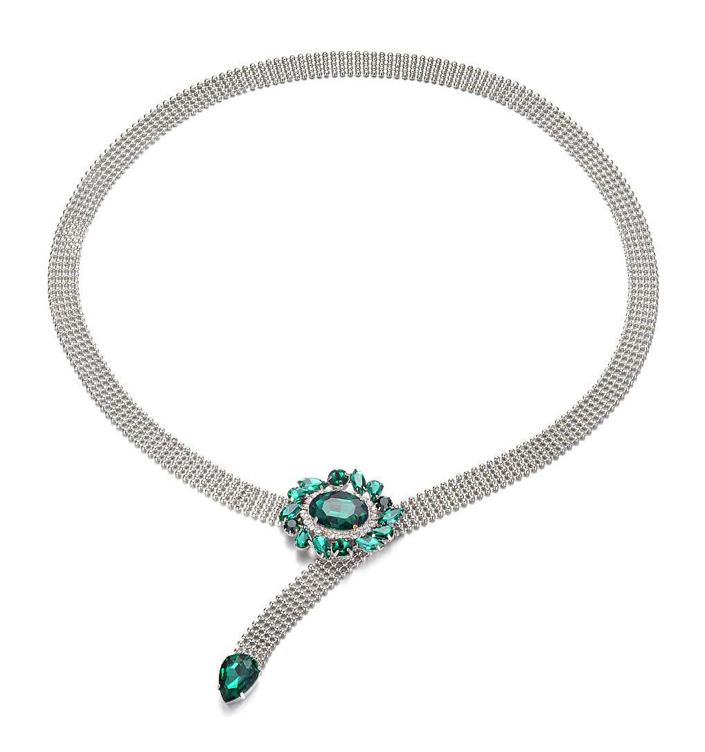 Amiveil Women's Chain Belt with Emerald Green Rhinestones Metal Chain for Dress