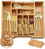 Utensil Drawer Organizer | Divides up to 13 Compartments | Cutlery,Silverware,Flatware Expandable Bamboo Kitchen Drawer Organizer Cutlery Tray | Height 2 3/8"