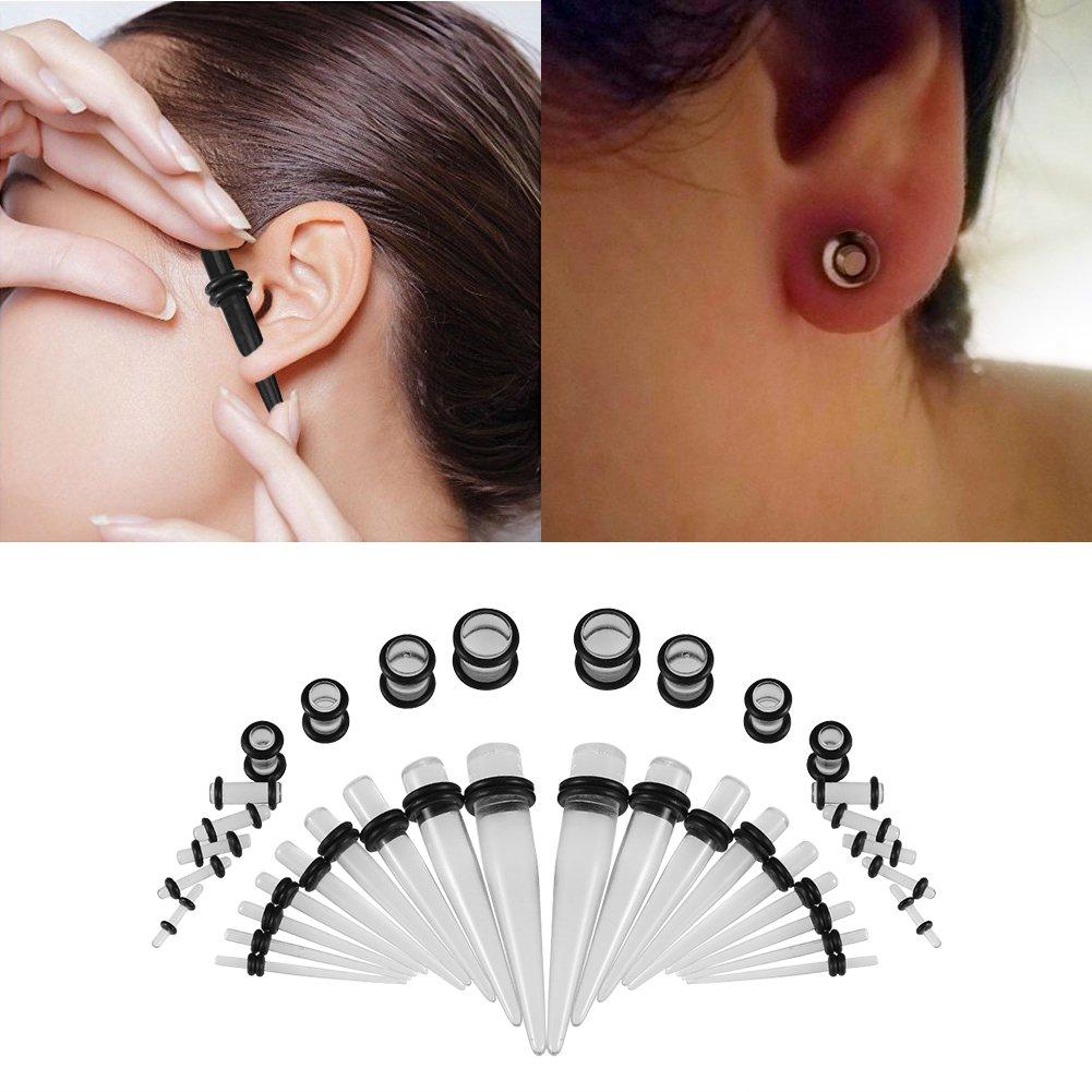 Transparent luminous Fashion Acrylic Ear Gauge Taper and Plug Starter Stretching Kit-