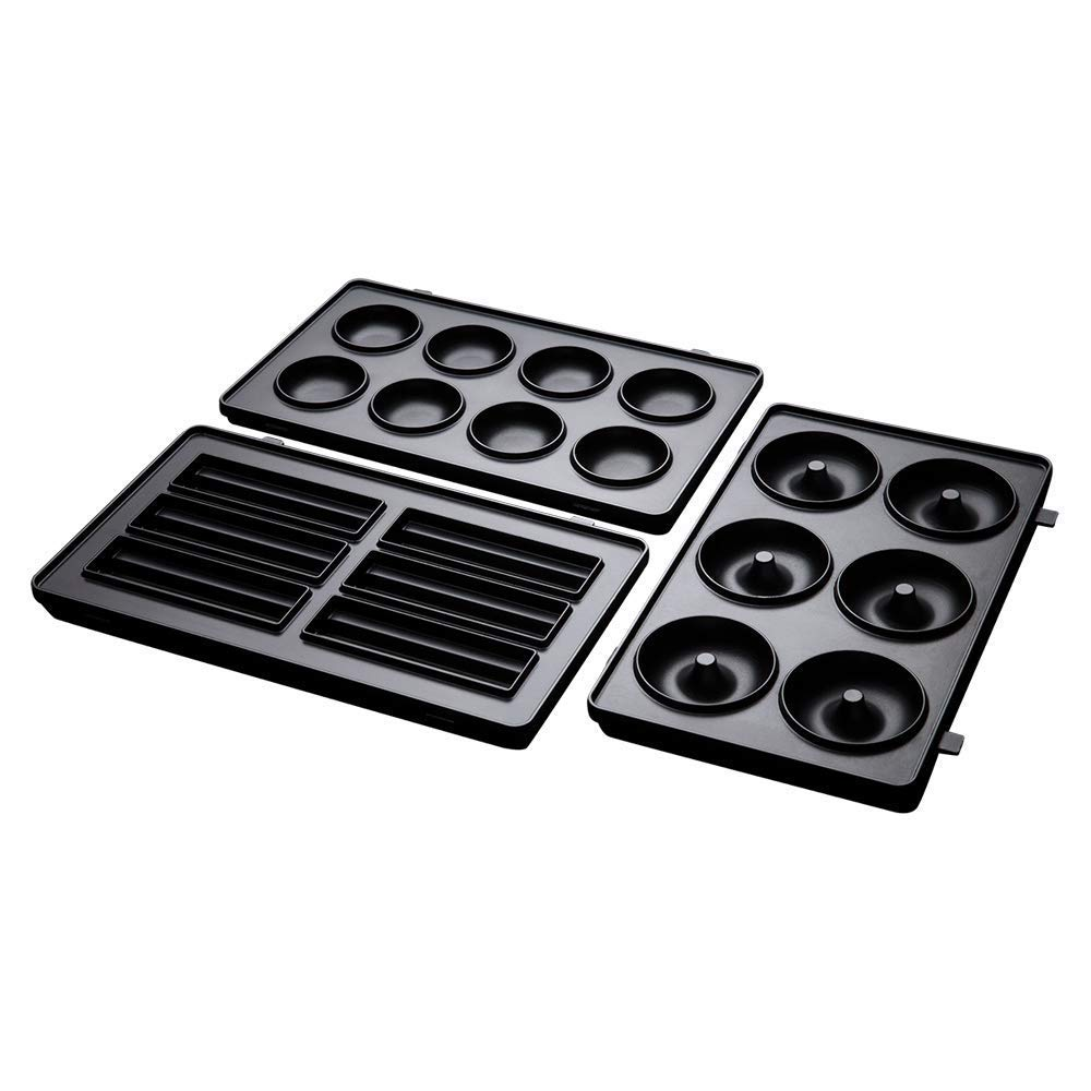 extraibles e intercambiables Juego de 3 placas para dulces Fiesta cake pops compatibles con la sandwichera 3 en 1 Russell Hobbs 25490-56 minidonuts y churros