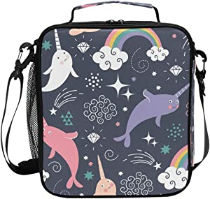 XMCL Sea Animal Rainbow Narwhal Insulated Lunch Bag Cooler Lunchbox Food Container Bento Box for School Office Pinic for Teens Girls Women