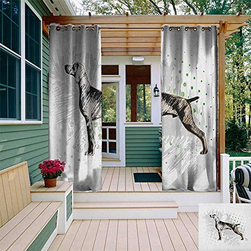leinuoyi Hunting, Outdoor Curtain Pair, Sketch of The Weimaraner Dog Canine on Grungy Abstract Design Background, Outdoor Privacy Porch Curtains W84 x L108 Inch Black Grey Green