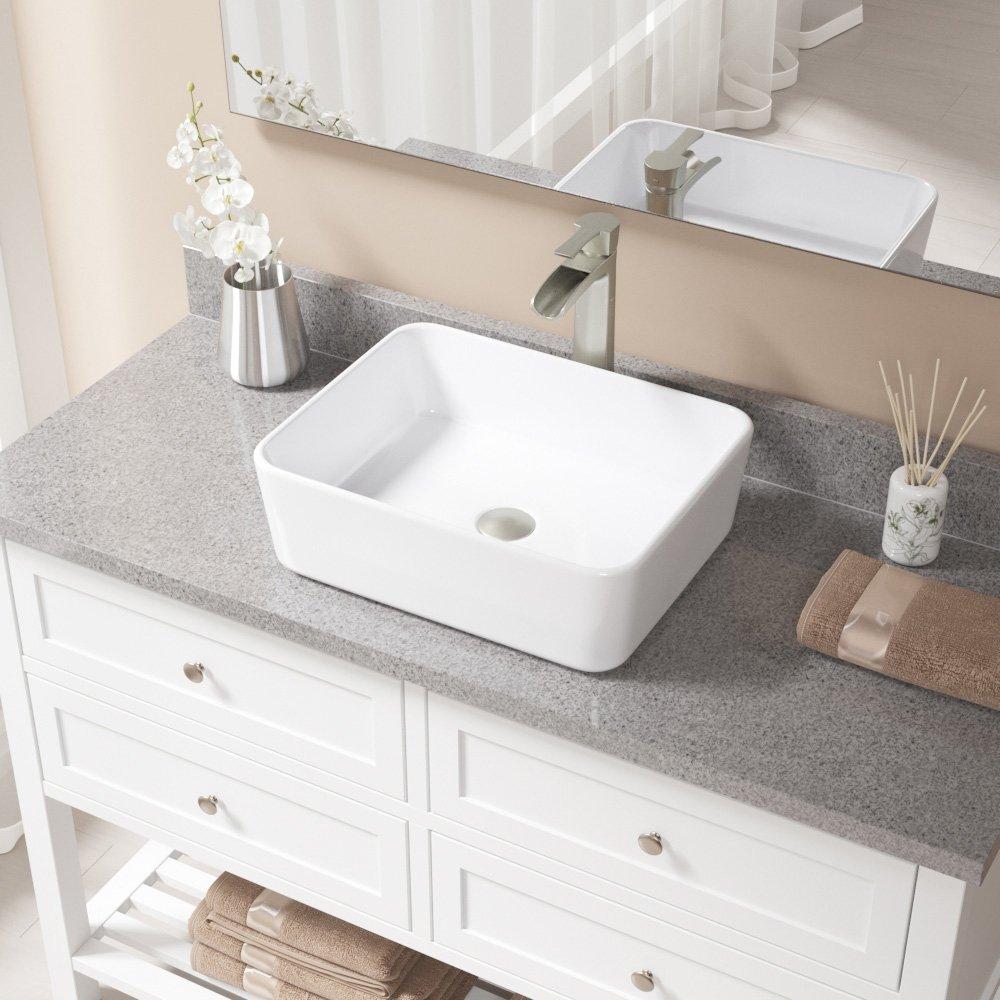 V140-White Porcelain Vessel Sink Brushed Nickel Ensemble with 721 Vessel Faucet Bundle - 3 Items: Sink, Faucet, and Pop Up Drain