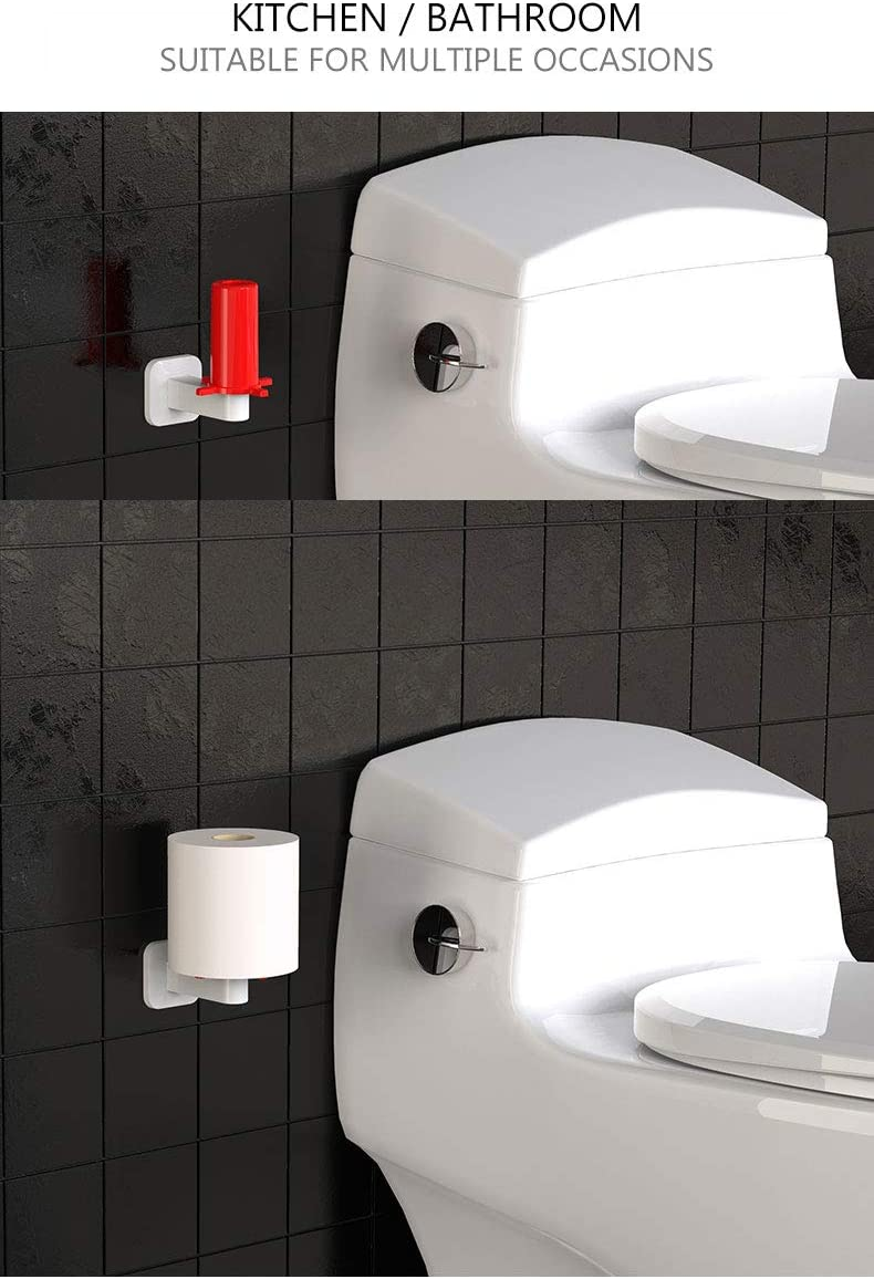 Wall Mount Paper Towel Holder Toilet Paper Holder No Drilling Tissue Paper Towel Roll Holder for Kitchen White /& Red Bathroom