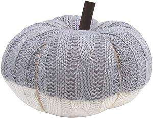 TG,LLC Treasure Gurus Rustic Grey White Knit Plush Stuffed Pumpkin Halloween Autumn Fall Thanksgiving Farmhouse Home Decor