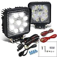Spec-D Tuning LF-4009SQX2 Fog Light (Square Off Road Hyper White Bumper Lamp Wiring Kit), 1 Pack
