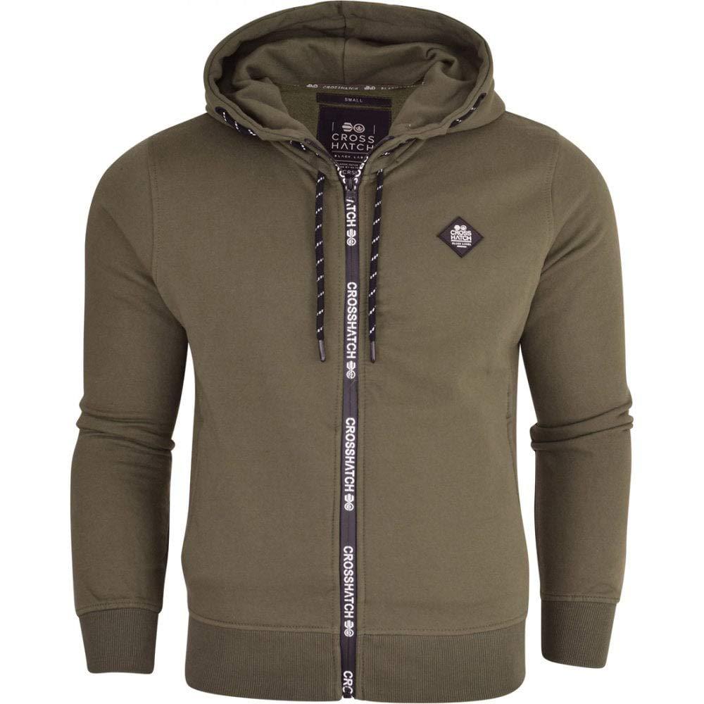 Crosshatch Zip Up Hoodie Hooded Plain Full Zip Thru Jacket Pullover Jumper Sweatshirt