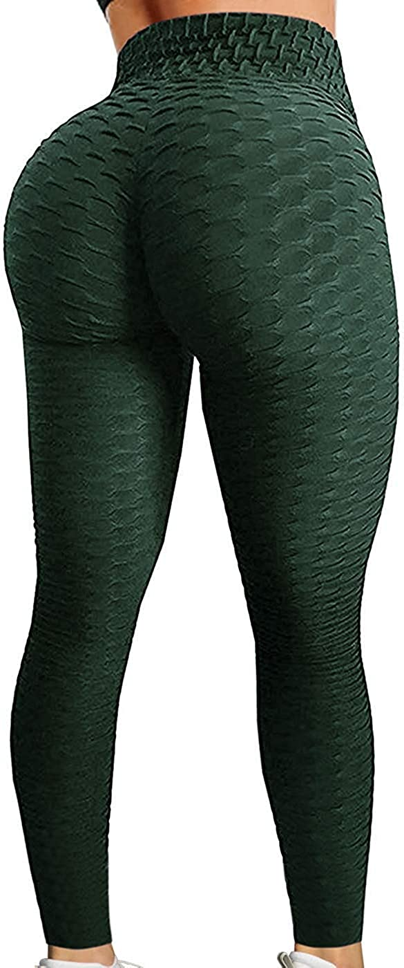 FITTOO Womens High Waisted Yoga Pants Tummy Control Scrunched Booty Leggings Workout Running Butt Lift Textured Tights