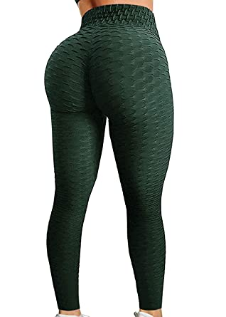 7a31cb25ae Fittoo Women's Honeycomb Ruched Butt Lifting High Waist Yoga Pants Chic  Sports Stretchy Leggings Peacock Green