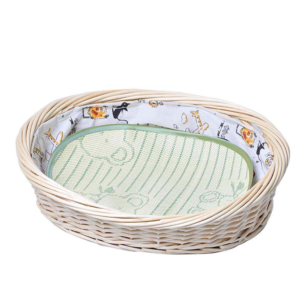 A S-5845cm A S-5845cm ZXCC Kennel Pet Nest Rattan Nest Mat Small Medium Large Dog Universal Cat House Atmosphere Pet Nest (color   A, Size   S-58  45cm)