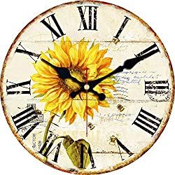 ShuaXin 12inch Vintage Wooden Wall Clocks Roman Numeral Design Silent Clock for Room Decor Bar Decoration (Colorful Flowers) (Sunflower)