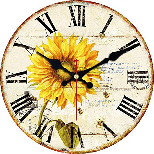 Wooden Wall Clock (Sunflower)