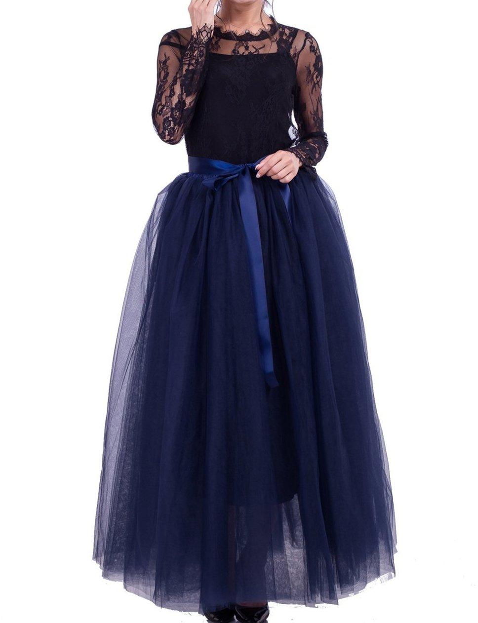 Macola Long Tulle Skirt, Women Floor Length Long Pleated Tutu Skirt for Ball Gown Wedding Party Prom Dress (Navy)