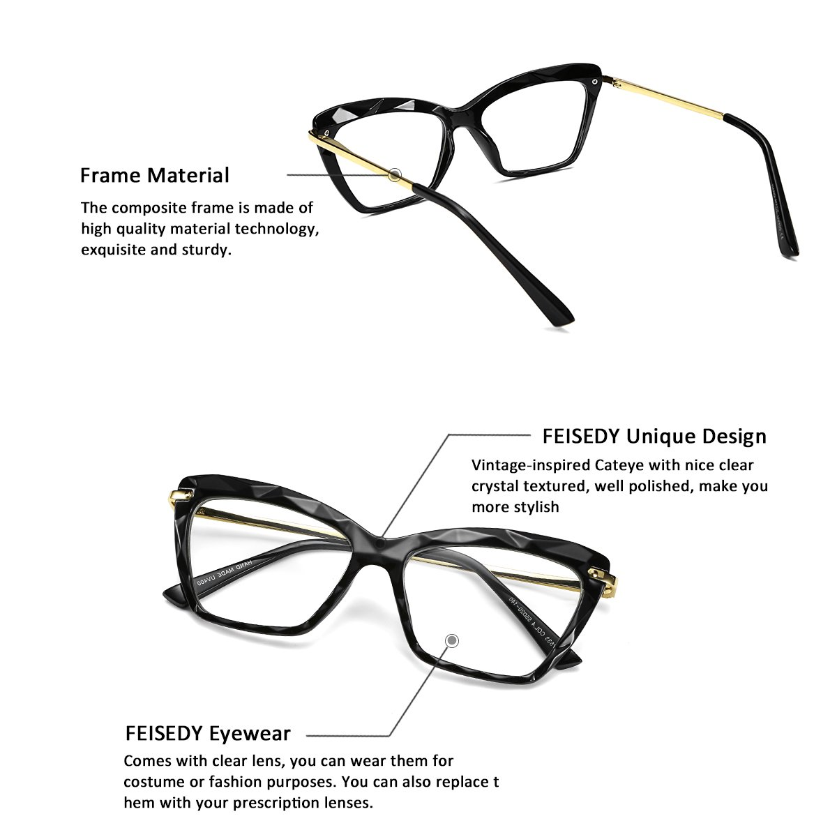 276963cd9791 Amazon.com: FEISEDY Cat Eye Glasses Frame Crystal Non Prescription Eyewear  Women B2440: Clothing