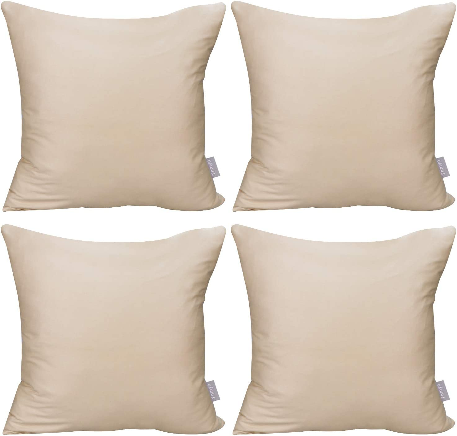 4-Pack 100% Cotton Comfortable Solid Decorative Throw Pillow Case Square Cushion Cover Pillowcase (Cover Only,No Insert)(18x18 inch/ 45x45cm,Khaki): Home & Kitchen