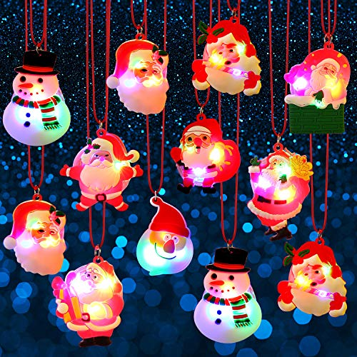 Blulu Christmas Holiday Flashing Light Necklaces Soft Chain Necklace, Flashing Santa Light Necklace LED Pendant Necklaces for Kids Party Favors Christmas Decoration, Random Styles (12) -