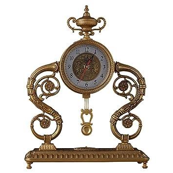 SESO UK- Reloj de Mesa Mantla Antiguo Europeo Reloj Creativo de Metal silencioso Relojes Decorativos con un péndulo para la Sala de Estar: Amazon.es: Hogar