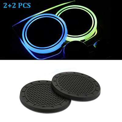 Sanpanie 2+2PCS LED Car Cup Holder Lights 7 Colors Changing USB Charging Mat Luminescent Cup Pad Coaster Insert LED Interior Atmosphere Lamps: Automotive