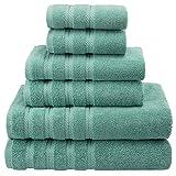 American Soft Linen 100% Cotton Turkish Bath Towel Set-of-6, Aqua Blue Deal
