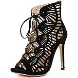 87ce98a0c9fe67 LINYI Knöchelriemen Stiletto Heels Sandaletten Womens Sommer Neue Einfache  Offene Zehehöhl Breathable Wildleder