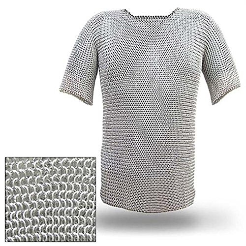 Medieval Renaissance Haubergeon Replica Warrior Chainmail Armor Long Shirt XL