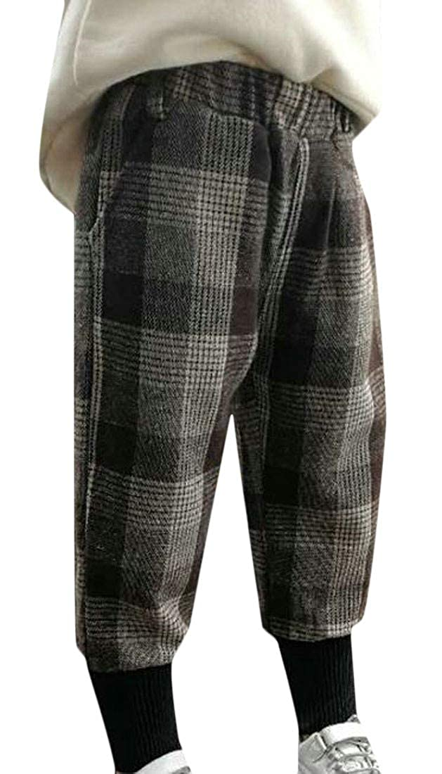 Cromoncent Girl Winter Plaid Warm Thicken Elastic Waist Woolen Jogger Pants