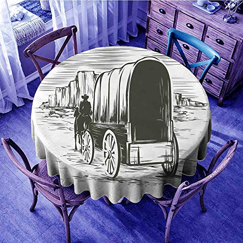 ScottDecor Western Outdoor Picnics Old Traditional Wagon Wild West Prairies Pioneer on Horse Transportation Cart Kids Round Tablecloth Black and White Diameter 60