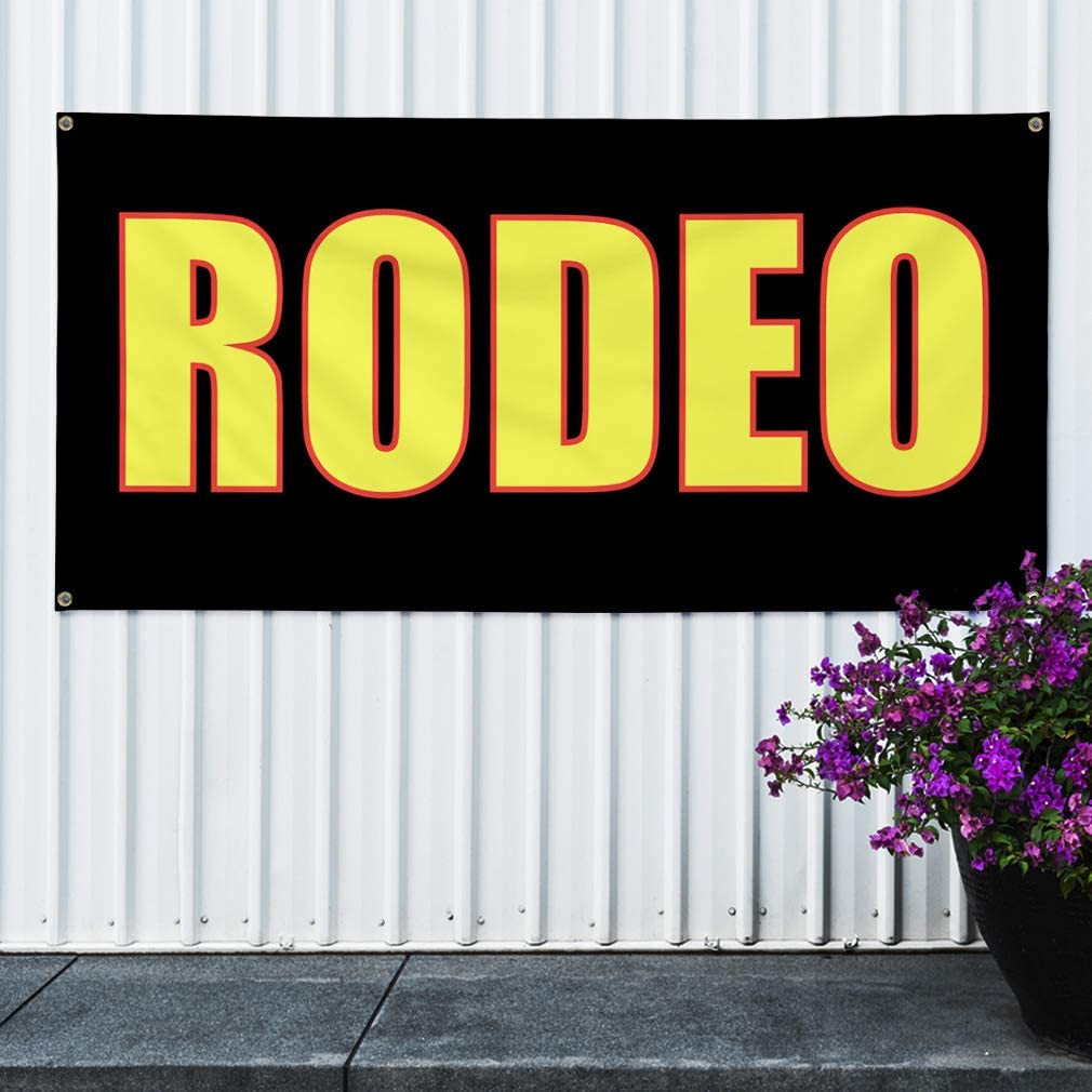 4 Grommets Multiple Sizes Available Vinyl Banner Sign Rodeo Lifestyle Rodeo Outdoor Outdoor Marketing Advertising Black 28inx70in Set of 2
