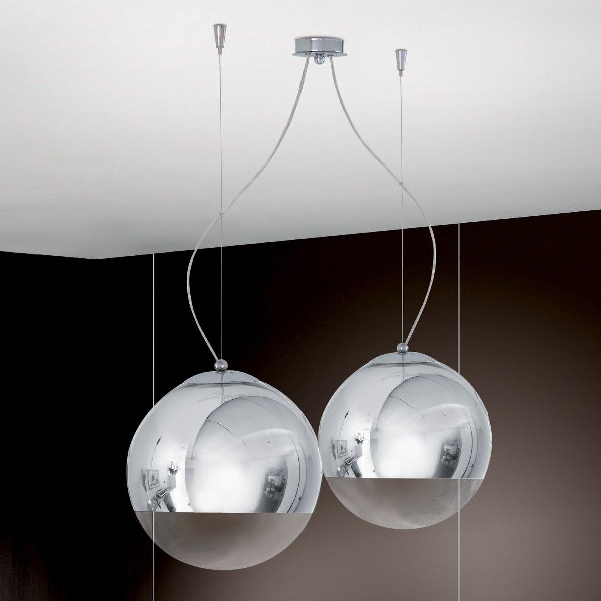 Lampadario Sospensione 1 Luci Cromo Design Moderno- Collezione Bolla ...