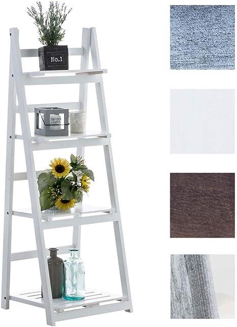 CLP Estantería Escalera Decorativa Frederika I Estantería de Madera Plegable I Estantería Librería de 4 Niveles en Estilo Rústico I Color: Blanco: Amazon.es: Hogar