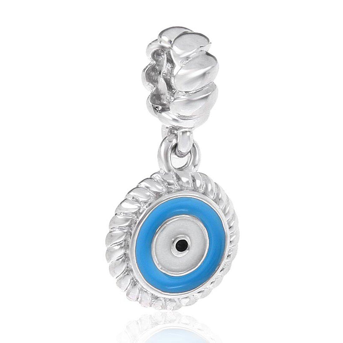 c10c768d3 Amazon.com: 925 Sterling Silver Evil Eye Charm Angel Charm Symbol Charm  Halloween Charm for Pandora Charms Bracelet (A): Arts, Crafts & Sewing