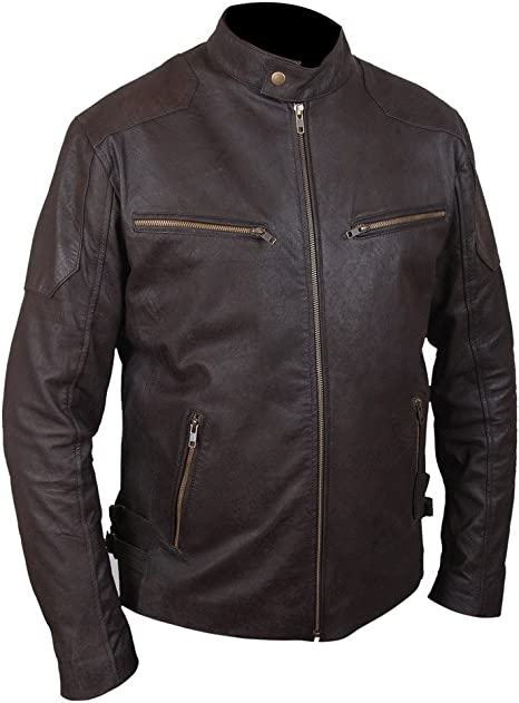 Captain America Civil War Chris Evans Brown Sheepskin Leather Cafe Racer Jacket