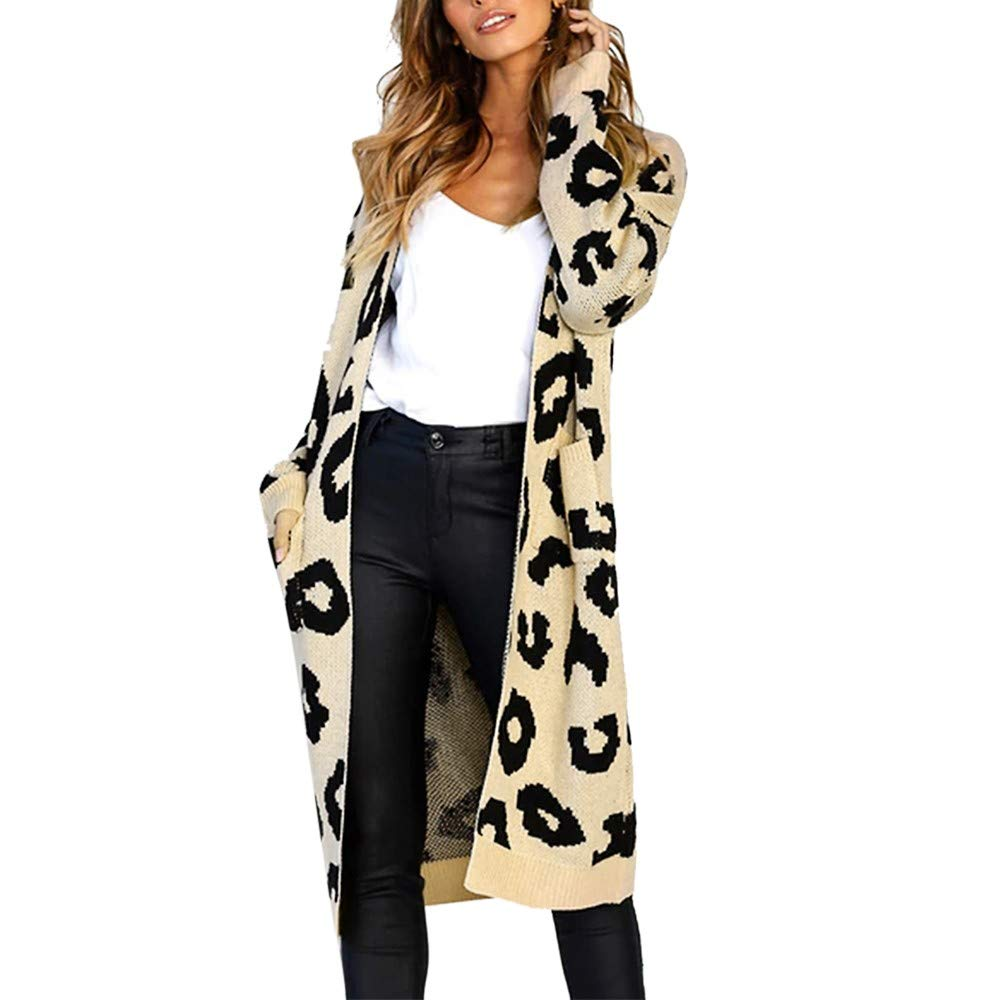 Shusuen Women Long Sleeve Open Front Leopard Knit Long Cardigan Casual Print Knitted Maxi Khaki by Shusuen_Clothes