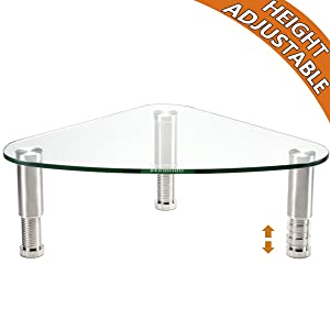 Clear Glass Computer Monitor Riser/Triangle Desktop Universal Corner Stand for Computer Monitor & Laptop HD01T-003