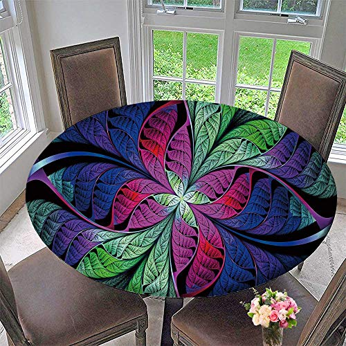 PINAFORE HOME Simple Modern Round Table Cloth Extraordinary Multi Colored Stained Glass Window Leaves Plant for Daily use, Wedding, Restaurant 35.5