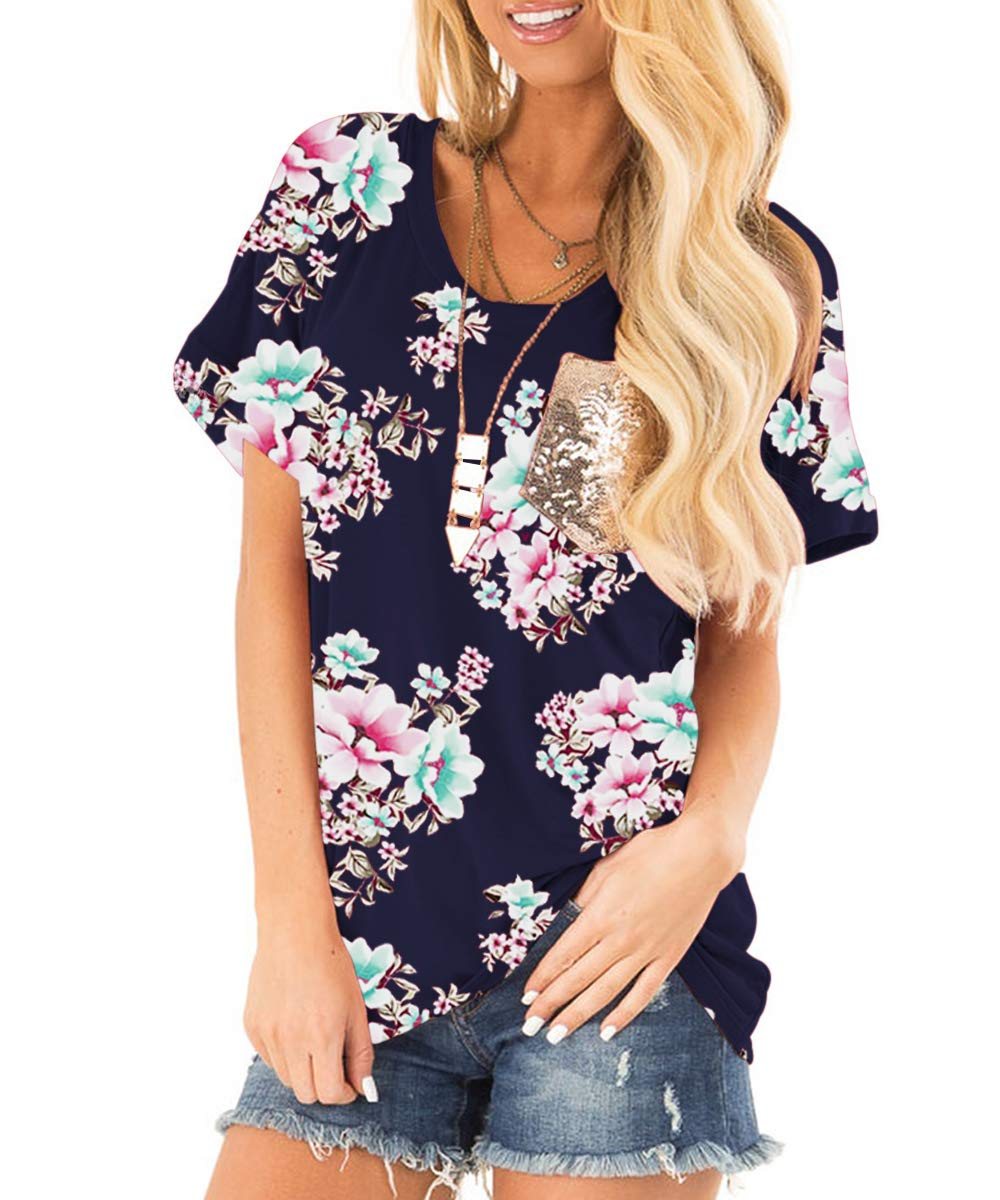 deesdail Sequin Tops for Women, Ladies Round Neck Short Sleeve Casual Shirts Slim Fit Floral Printed Knitted Tunic with Pocket Navy Blue M
