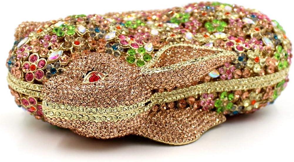Santimon Bolso Mujer Noche Bolsa Fiesta Boda Cartera Mano Brillo Diamante Cadena Clutch Conejo