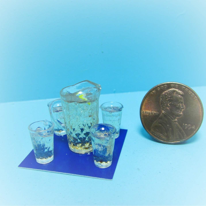 Dollhouse Chrynsbon Pitcher Lemonade 4 Filled Glasses KL2262 - Miniature Scene Supplies Your Fairy Garden - Doll House - Outdoor House Decor by New Garden Miniature (Image #1)